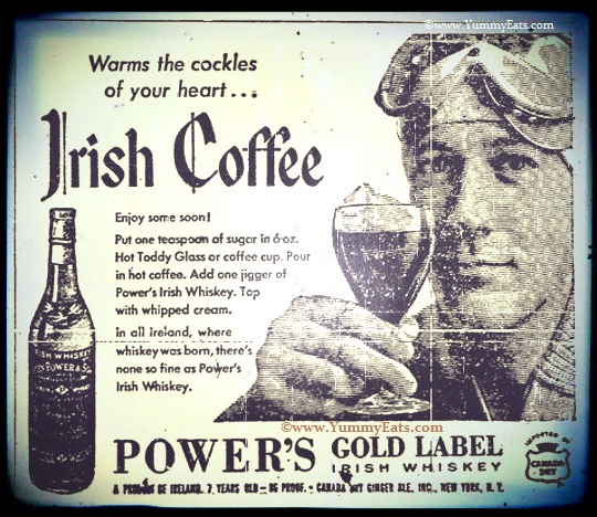 Irish Coffee Recipe from a Vintage Irish Whiskey Advertisement circa 1957