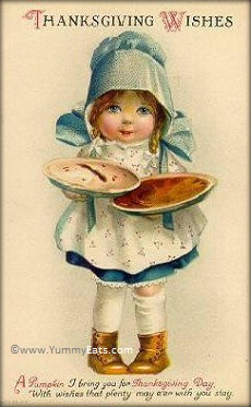 Happy Thanksgiving Wishes Vintage Postcard of Pie Girl