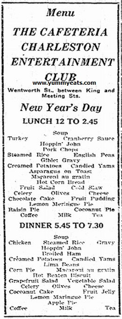 Cafeteria lunch and dinner menu for New Year's Day 1921