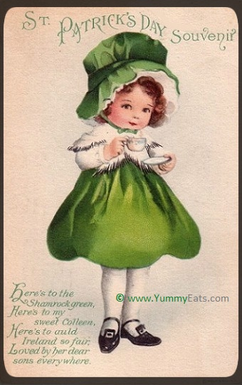 St. Patrick's Day Vintage Postcard of Girl with Teacup