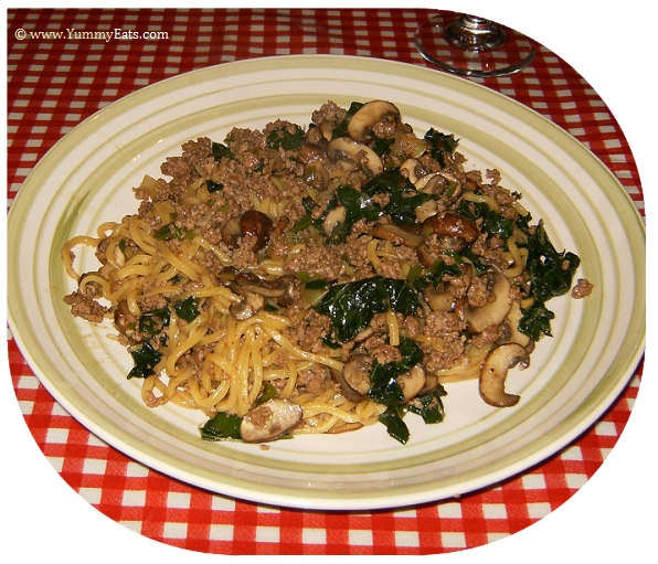 Beef Noodle Bowls with Dinosaur Kale and Mushrooms, from the Plated Subscription Meal Box