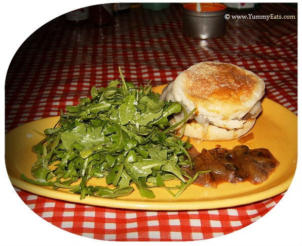 French Onion Soup Burger with Gruyere Cheese and Arugula Salad, recipe from Plated.com subscription box