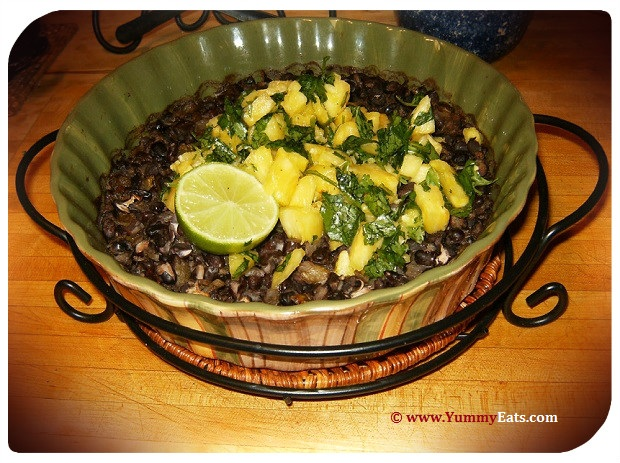 Cuban Black Beans with a fresh Pineapple and Cilantro topping