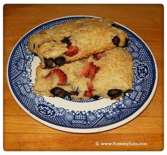 Homemade Scones filled with fresh Strawberries and Blueberries.
