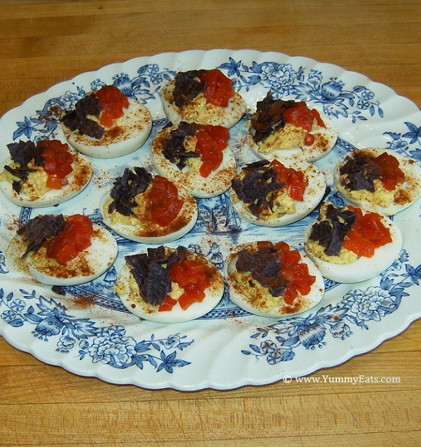 YummyEats original Firecracker Deviled Eggs recipe in glorious red, white, and blue