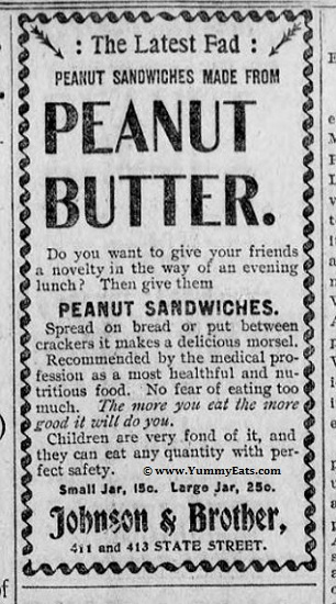 Peanut Butter, the latest fad of the year 1898. Nineteenth century food inventions.