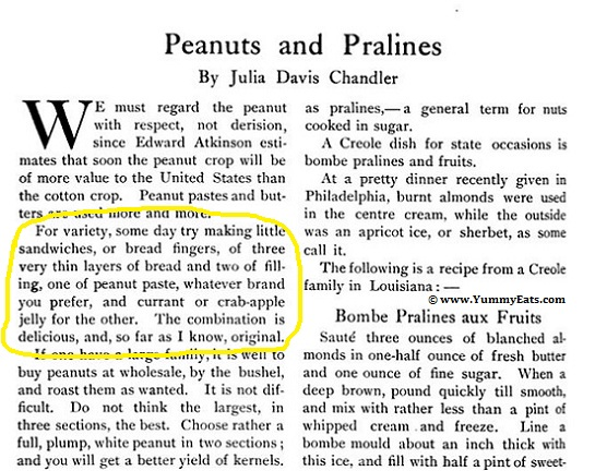 Peanut Butter and Jelly Sandwich idea, from The Boston Cooking School Magazine circa 1901.