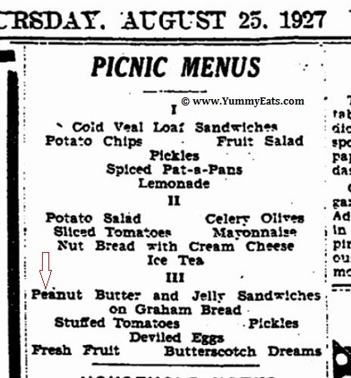 Picnic Menus from the year 1927 including menu featuring Peanut Butter and Jelly Sandwiches.