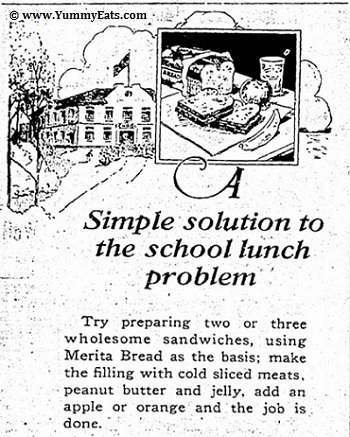 A simple solution to the school lunch problem, Merita Bread vintage advertisement circa September 1926.