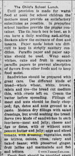 The Child's School Lunch, article from vintage 1916 newspaper.