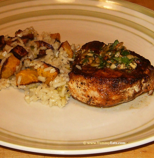 Seared Chicken dish with side of Roasted Honeynut Squash and Garlic Rice, from Blue Apron recipe meal