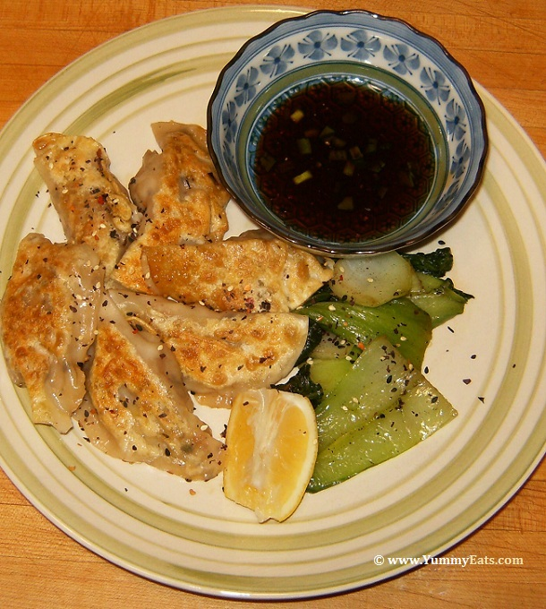 Shrimp Shiitake Dumplings with side of Bok Choy and Dipping Sauce, Blue Apron sub box recipe