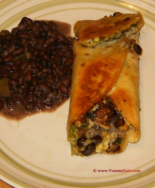 Egg and Rice Burrito with side of Saucy Black Beans