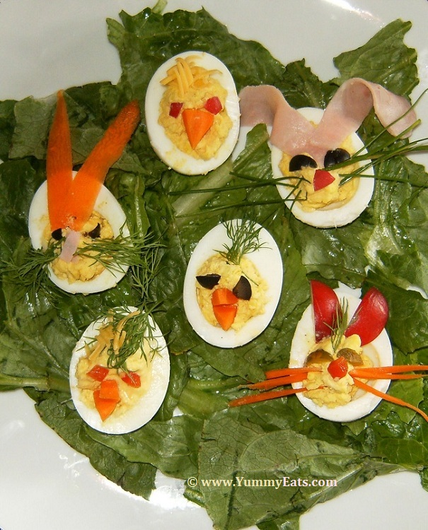 Bunnies and Chicks for Easter, edible decorated Deviled Eggs.