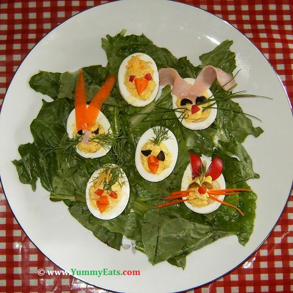 Recipe for Easter decorated Deviled Eggs party appetizer.