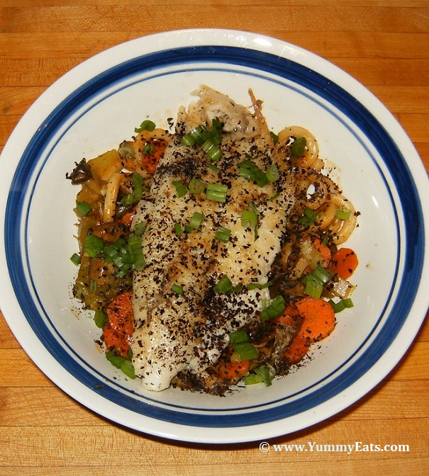 Seared Catfish with Udon Noodles : A Recipe from the Blue Apron Meal Delivery