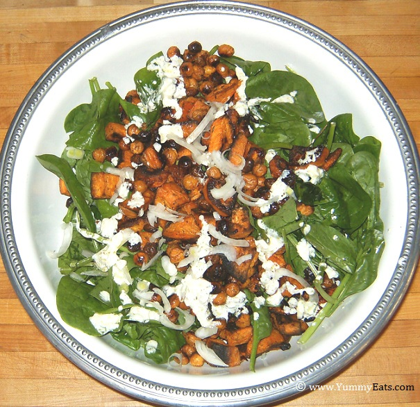 Spinach Salad with Chickpeas and Sweet Potatoes, recipe from Dinner Cookbook.