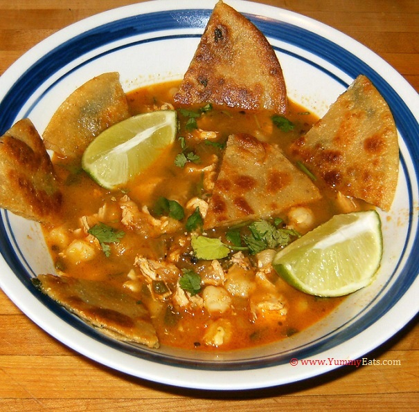 Chipotle Chicken Pozole with Crispy Quesadillas - a meal prepared from a Plated subscription box recipe.